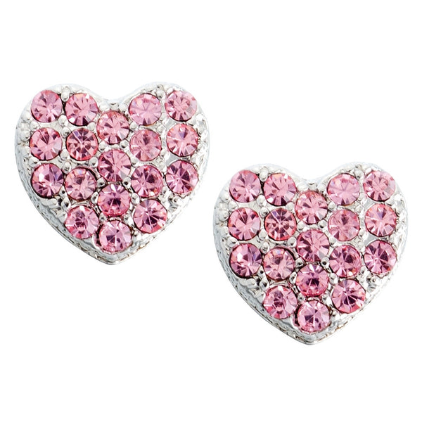 Small Pink Gemmed Hearts Stud Earrings