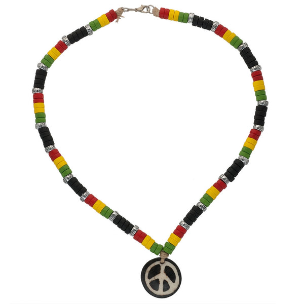 Peace Sign & Rasta Beads Wooden Necklace