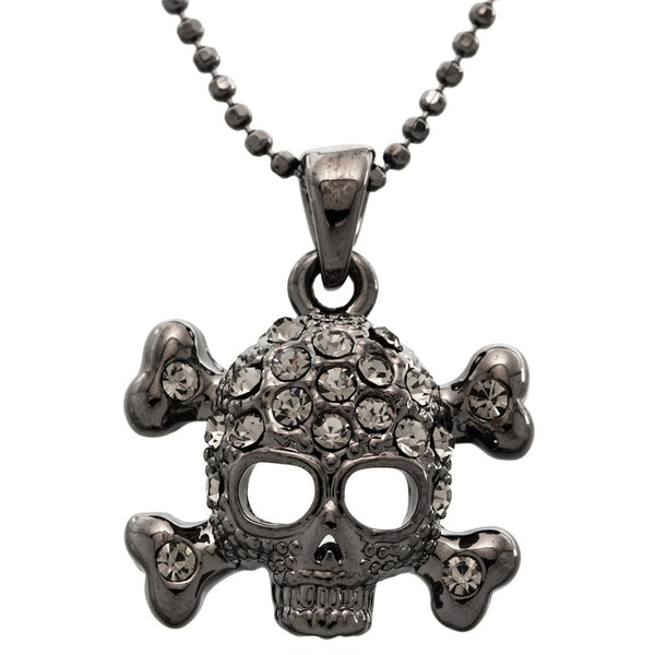Gemmed Skull & Crossbones Metal Necklace