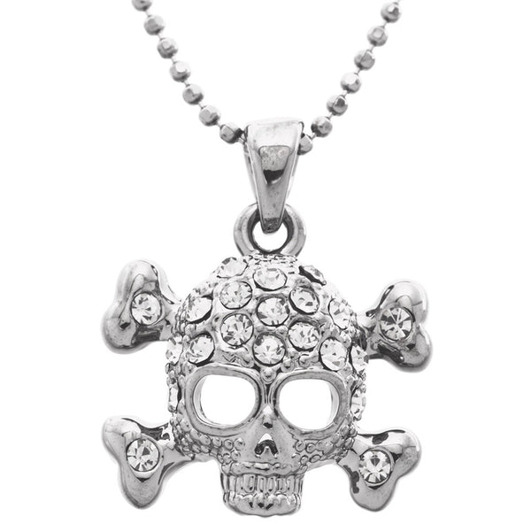 Gemmed Skull & Crossbones Necklace
