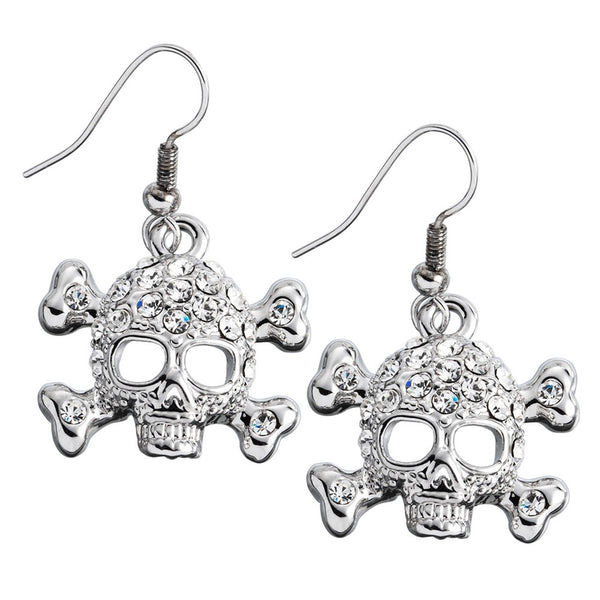Gemmed Skull & Crossbones Dangle Earrings