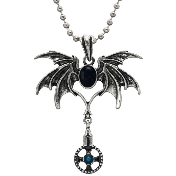 Blue Crystal Pendant with Bat Wings