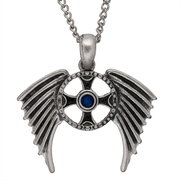 Winged Celtic Cross Pendant with Blue Gem