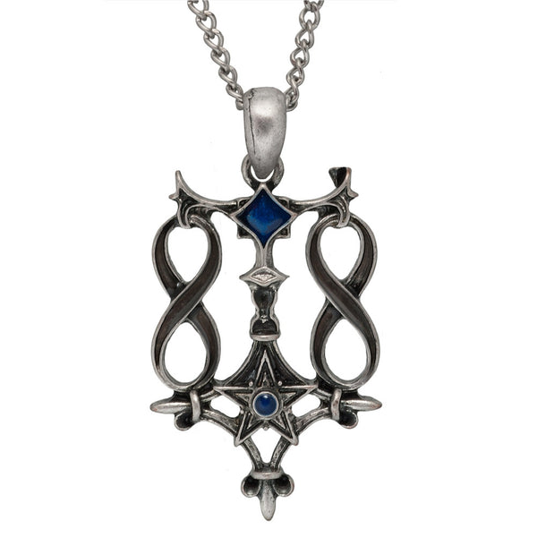 Infinity Star Pendant with Blue Enamel