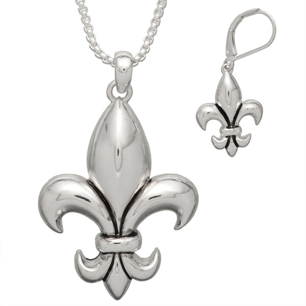 Fleur de Lis Necklace with Earrings Set