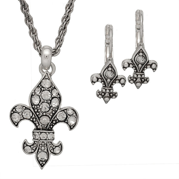 Crystal Fleur de Lis Necklace with Earrings Set