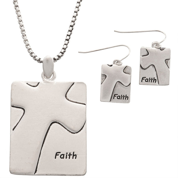 Matthiew 17:20 Pendant with Earrings Set
