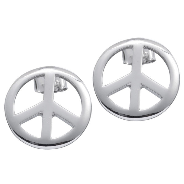 Large Peace Sign Stud Earrings