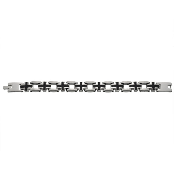 Black Cross Steel Bracelet