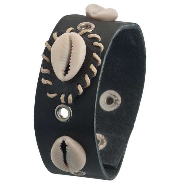 Tribal Shell Black Leather Wristband