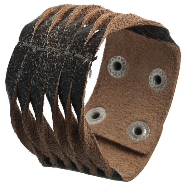 Grey Fringed Leather Wristband