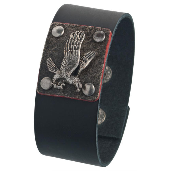 Flying Eagle Badge Leather Wristband
