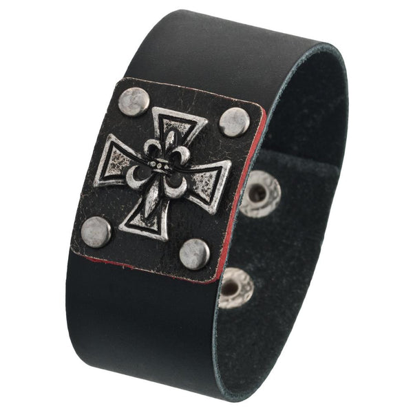 Fleur De Lis Iron Cross Leather Wristband