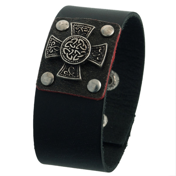 Celtic Iron Cross Leather Wristband