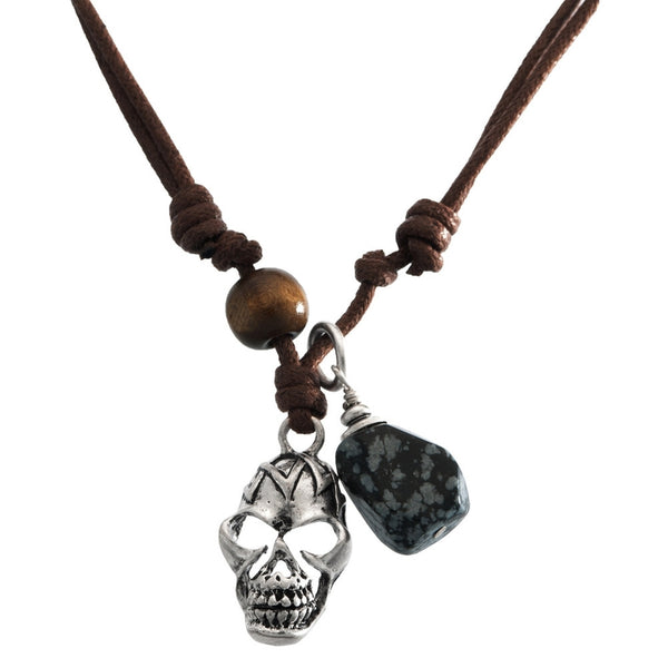 Tribal Skull & Stone Pendant Cord Necklace