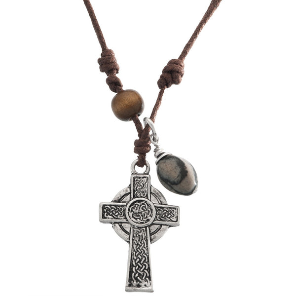 Celtic Cross Pendant Cord Necklace