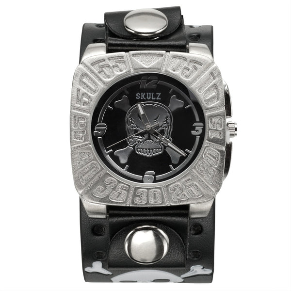 Skull & Crossbones With Black Background Band Watch