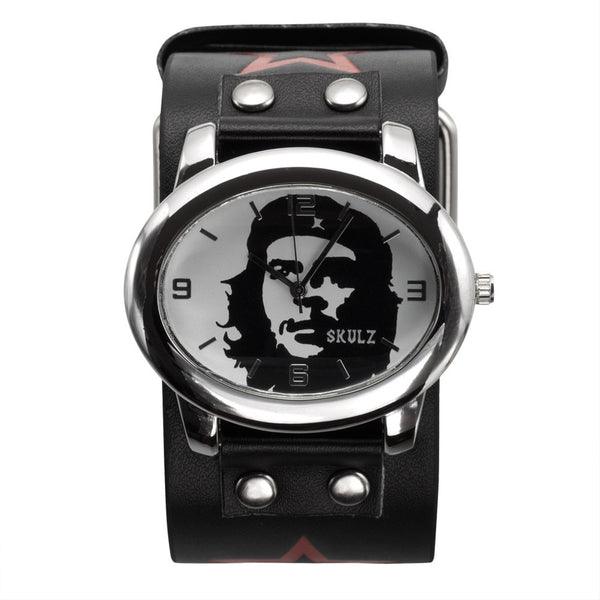 White Che Guevara Black Leather Band Watch