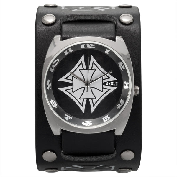 Silver Double Iron Cross Band Watch