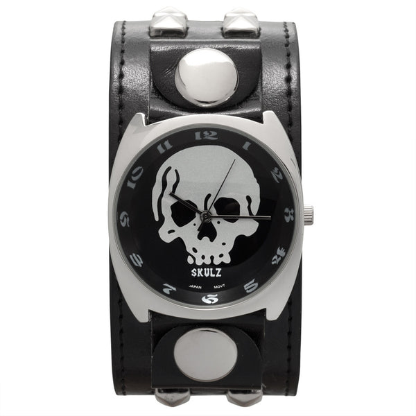 Large Silver Skull Band Watch