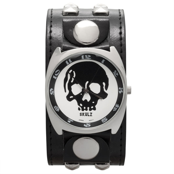 Large Black Skull Band Watch