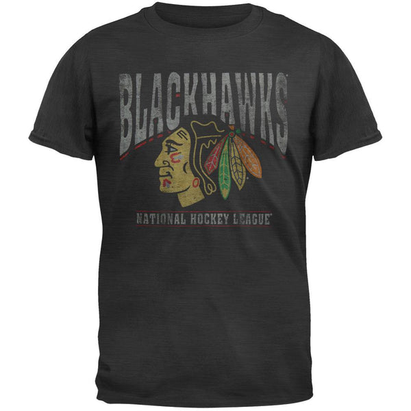 Chicago Blackhawks - Logo Scrum Premium Black Short Sleeve T-Shirt