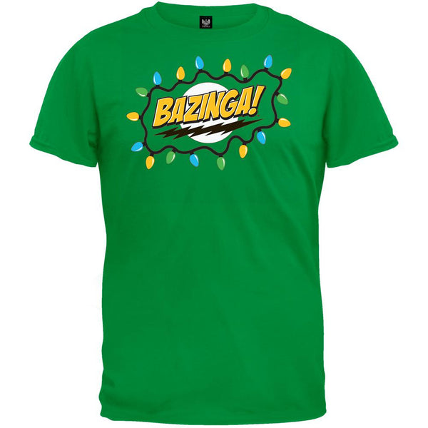 Big Bang Theory - Christmas Lights Bazinga Green T-Shirt