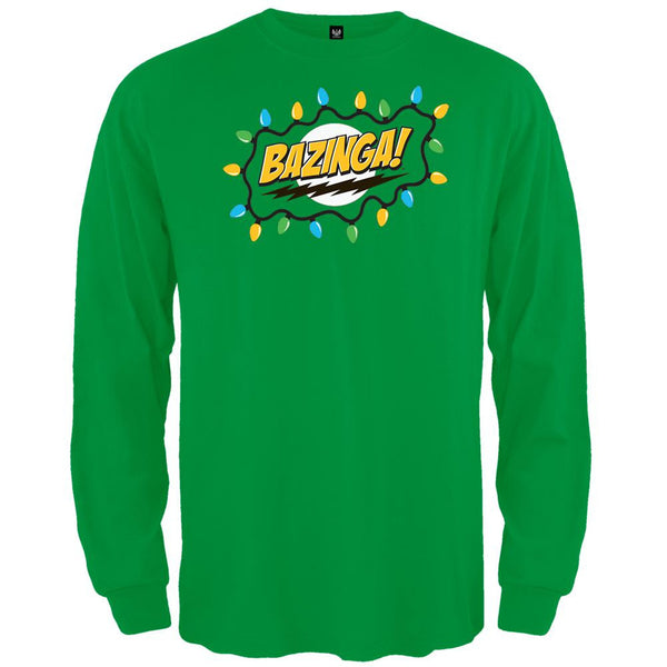 Big Bang Theory - Christmas Lights Bazinga Green Long Sleeve T-Shirt