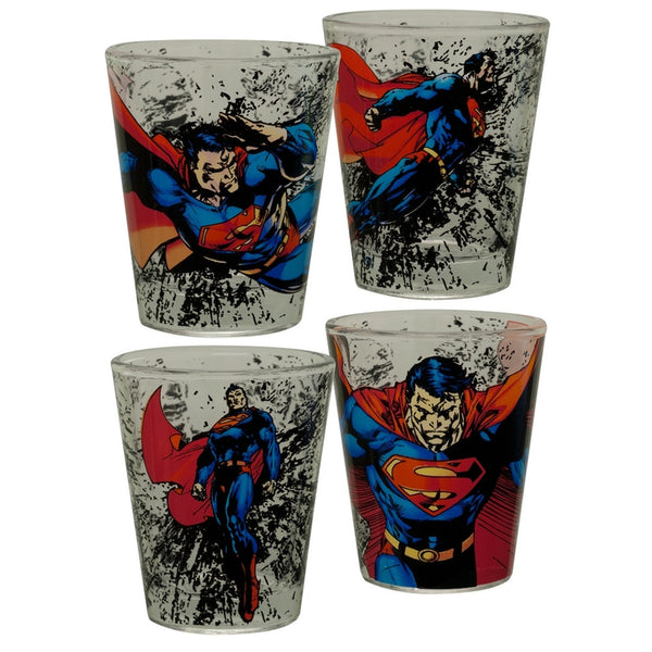 Superman - Action Scenes Four Pack Shot Glass Set