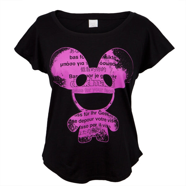 Deadmau5 - Bass For Your Face Black Juniors Dolman T-Shirt