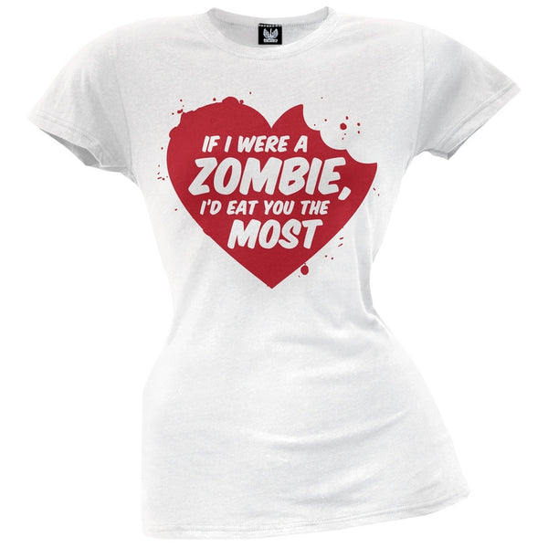 Valentine's Day - If I Were A Zombie Soft White Juniors T-Shirt