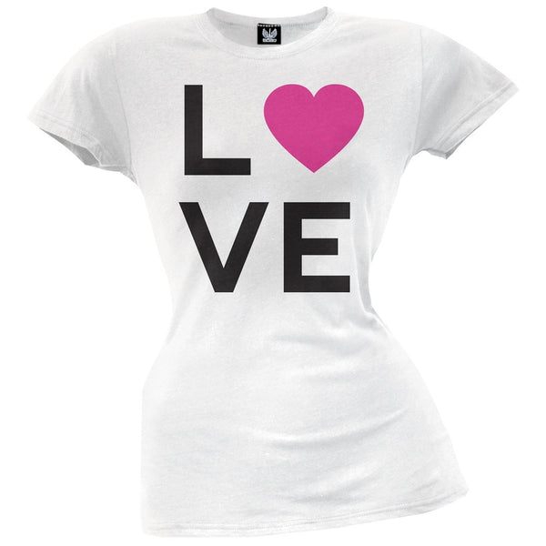 Heart Love White Juniors T-Shirt