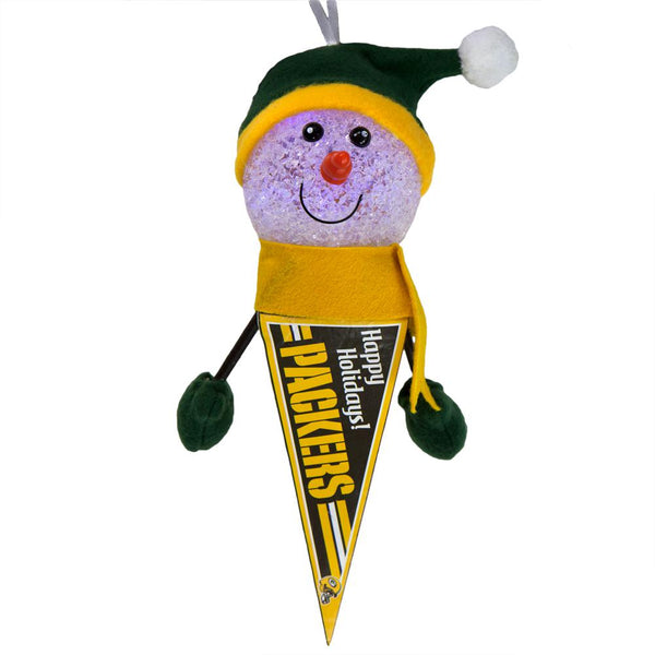 Green Bay Packers - Light-Up Snowman Pennant Ornament