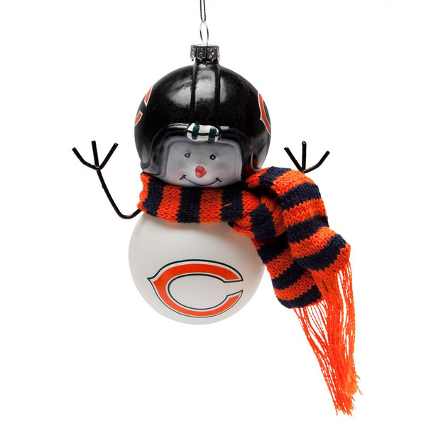 Chicago Bears - Blown Glass Snowman Ornament