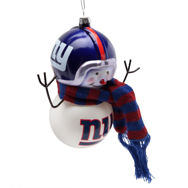 New York Giants - Blown Glass Snowman Ornament