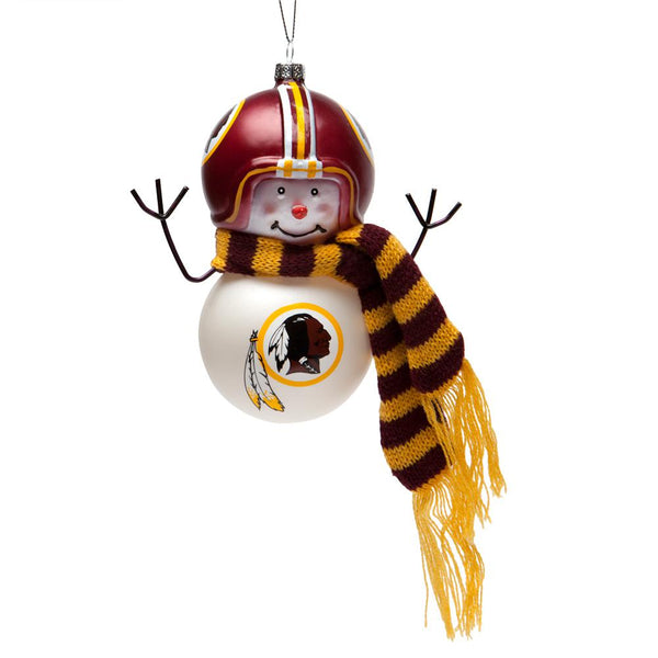 Washington Redskins - Blown Glass Snowman Ornament