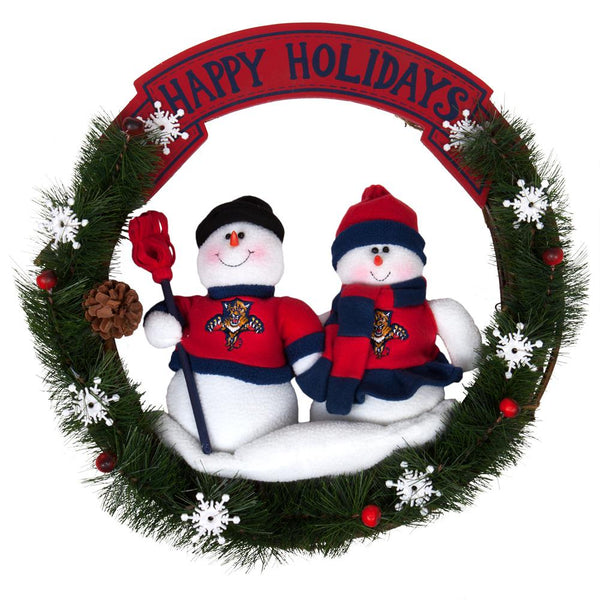 Florida Panthers - Happy Holidays Snowmen Wreath