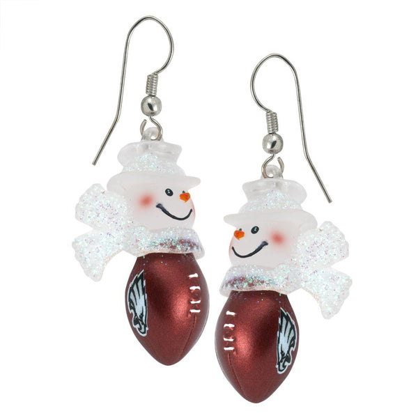 Philadelphia Eagles - Snowman Football Dangle Earrings