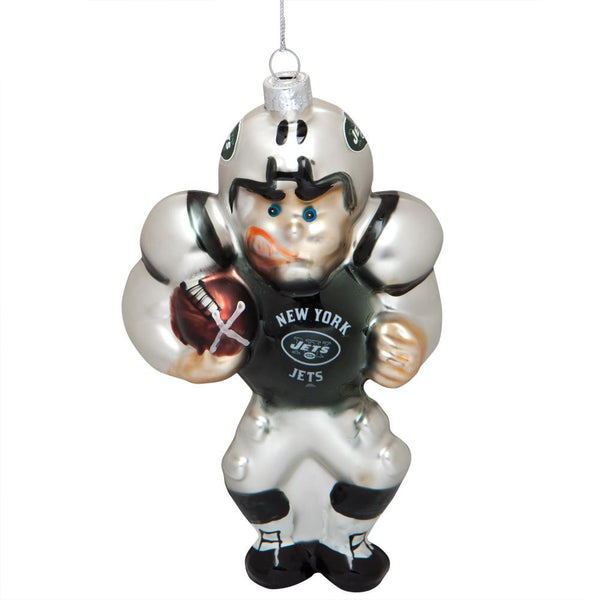 New York Jets - Blown Glass Football Player Ornament