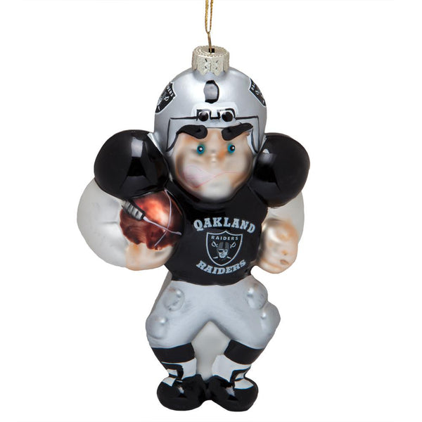 Oakland Raiders - Blown Glass Football Player Ornament