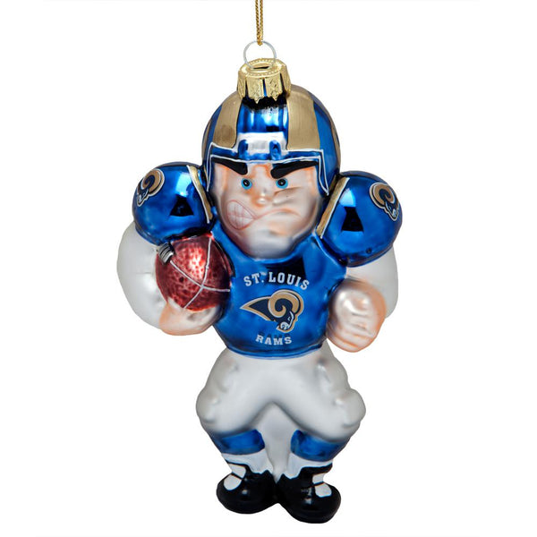 St. Louis Rams - Blown Glass Football Player Ornament