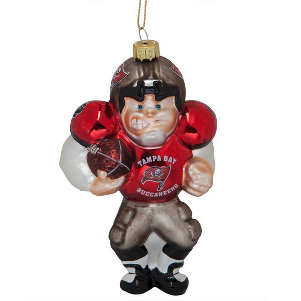 Tampa Bay Buccaneers - Blown Glass Football Player Ornament