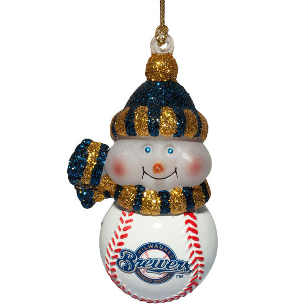 Milwaukee Brewers - Logo All-Star Light-Up Snowman Ornament