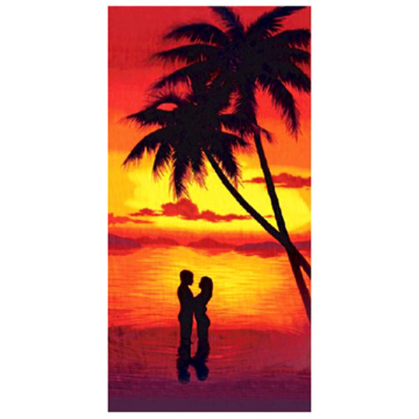 Couple in Island Sunset Velour Beach Towel
