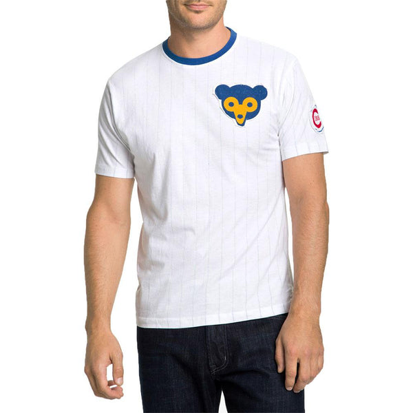 Chicago Cubs - Bear Logo Pinstripe Adult Jersey T-Shirt