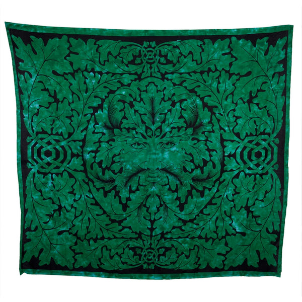 Celtic Flowers Circle Green Full Tapestry