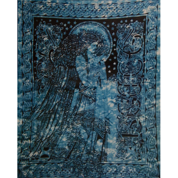 Celtic Angel Teal Single Tapestry