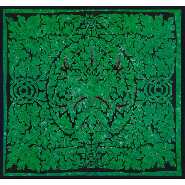 Celtic Knot Pagan Deity Green Man Emerald Full Tapestry