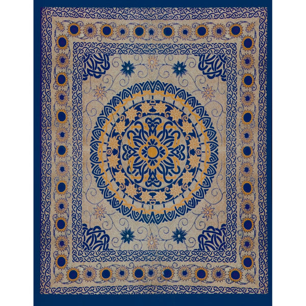 Celtic Flowers Circle Blue Full Tapestry