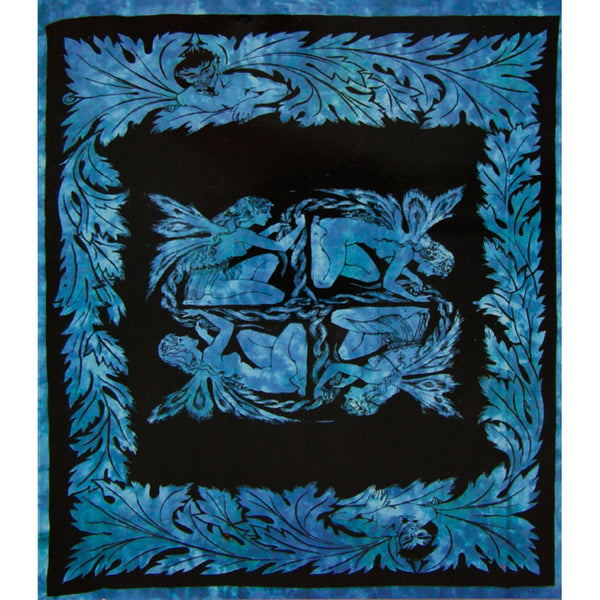 Fairy Square Blue Full Tapestry